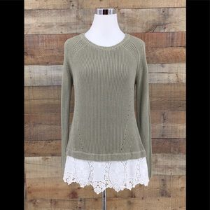 Soft Surroundings Knitted Lace Crochet Hem Sweater